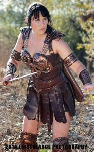 Jessica offers a fierce pose as Xena. Photo: FirstGlance Photography - www.toddscostumes.com