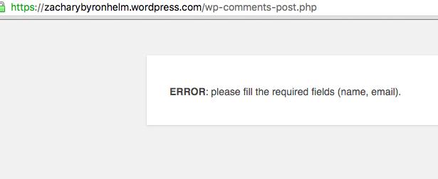 WordPress Error