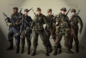 Costume illustrations from Captain America: The First Avenger.